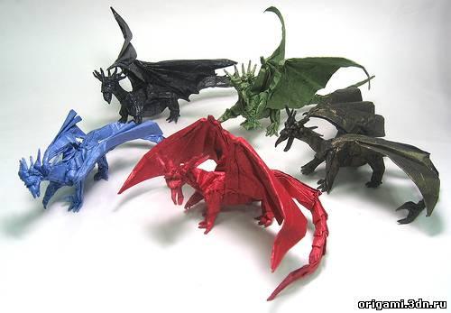 Объемные оригами дракона